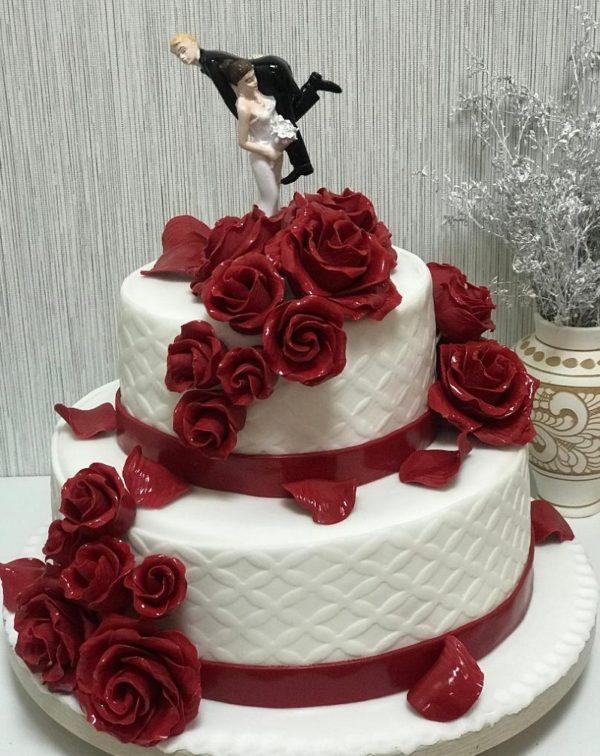 Tort Nunta N203 Trandafiri Bordo Cofetaria Paradis