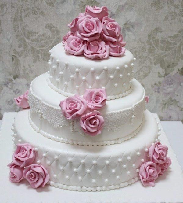 Tort Nunta N184 Trandafiri Roz Cofetaria Paradis